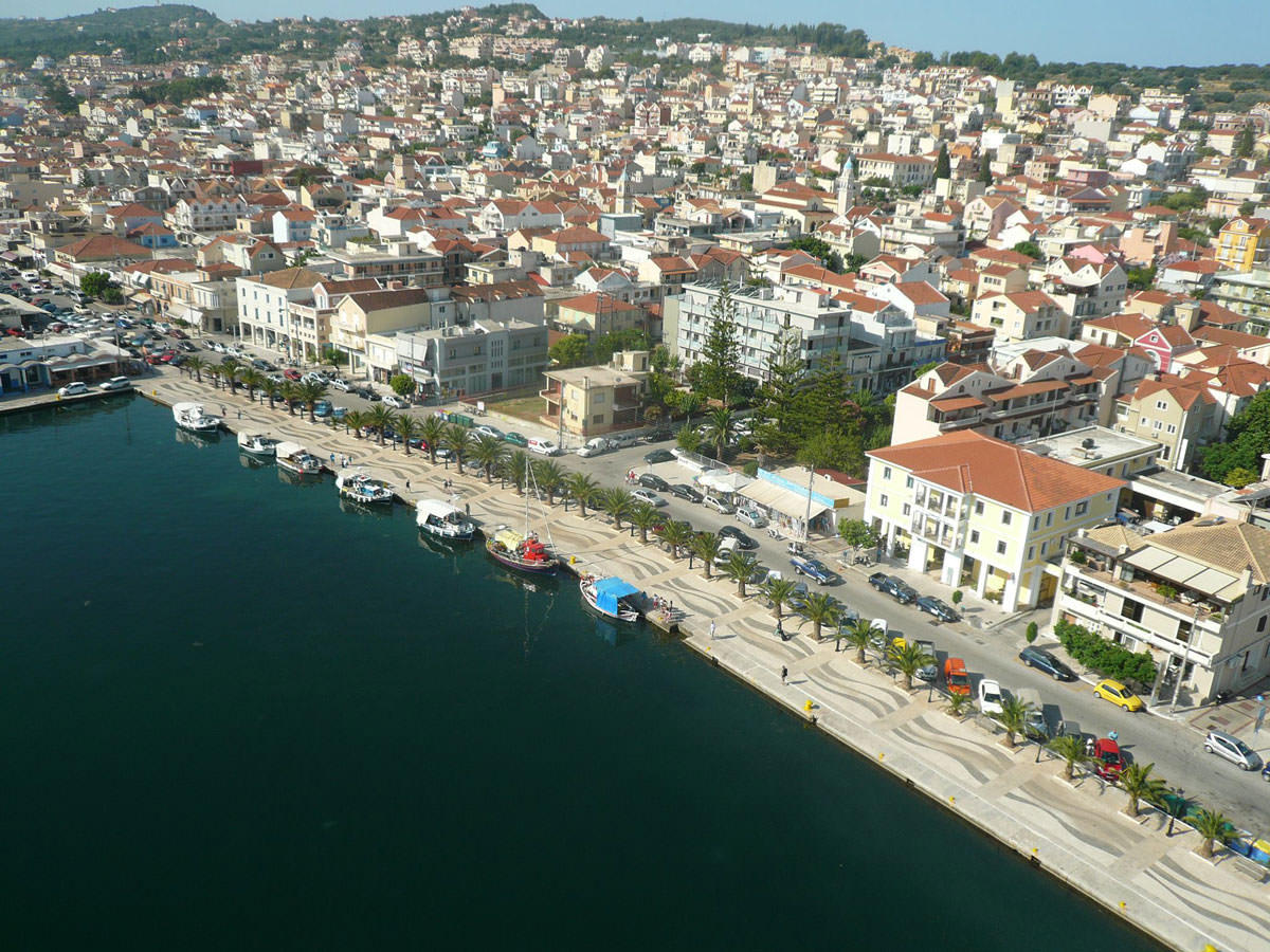 Aerial view of Argostoli town and Mouikis Hotel, a hotel close to Kefalonia airport.