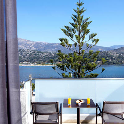 Sea views from the outdoor area of the family hotel room in Argostoli Kefalonia 25m²