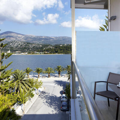 Balcony view from Triple Room at Mouikis, a sea view hotel in argostoli kefalonia